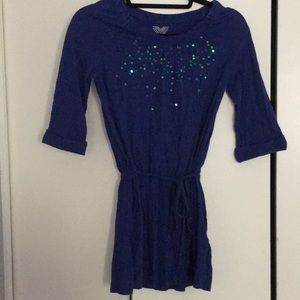 Girls 3/4 sleeve dress size L in blue
